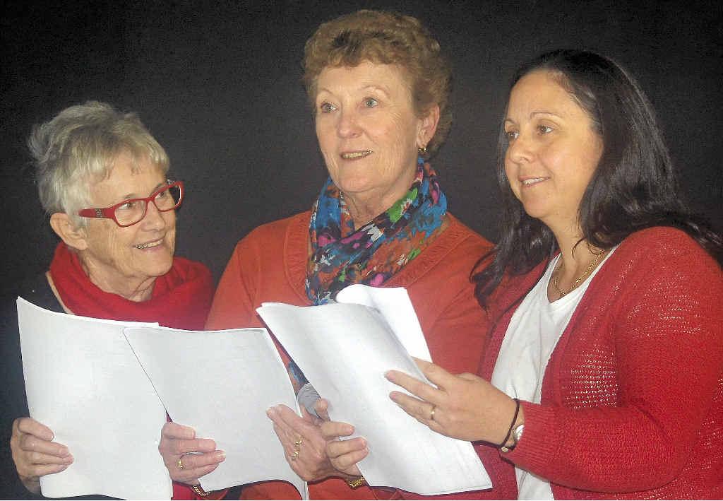 TALENTED TRIO: Carol Burls, Rita Walker and Dunia Tarrant rehearse for The Elderberry.