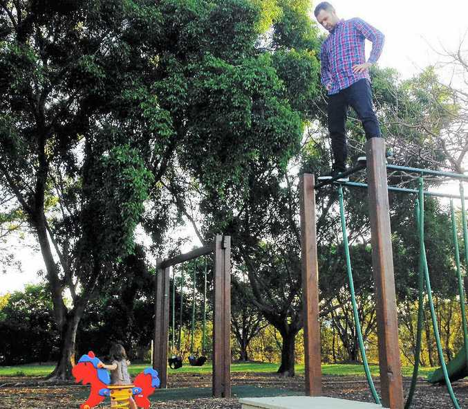 Father finally has sense of belonging at the playground.