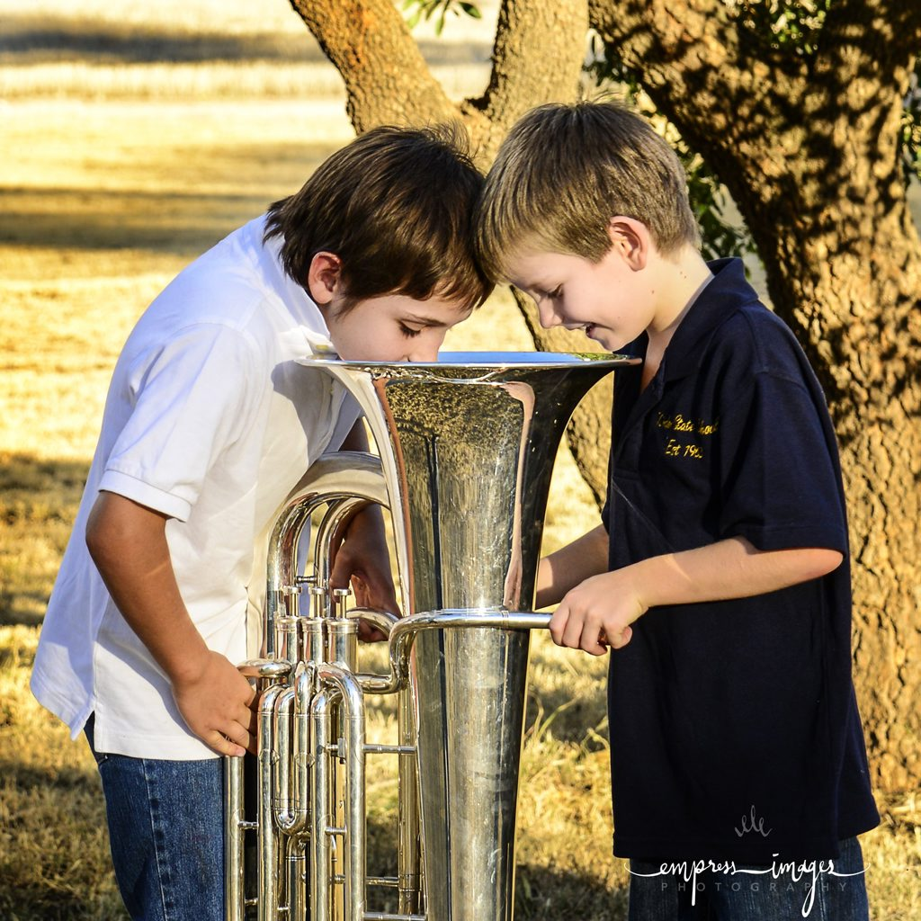 BRASS ACT: Set to benefit from some big-hearted jazz fans are Kindon State School students Reagen Schwerin (left) and Harvey Montgomery. Jazz on the Hill at Kindon.