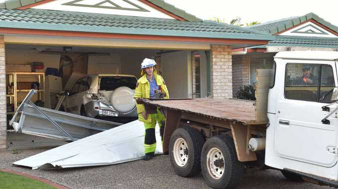 LUCKY: An early model Toyota Landcruiser utility rolled backwards down Sheoak Ct in Buderim and smashed into the garage of a Bluebush Ave house.