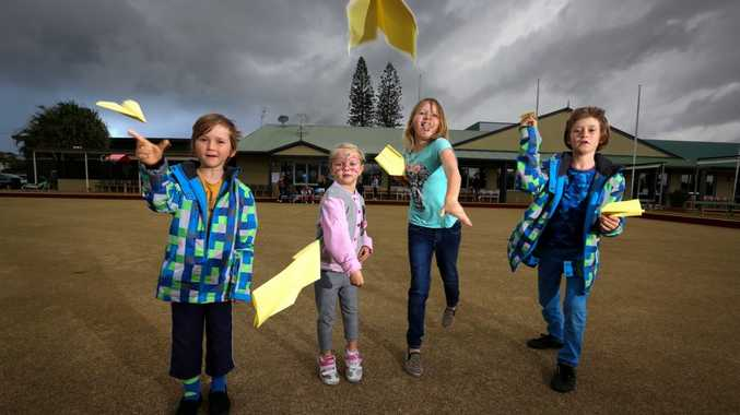 Luka Hagger, Lily Breese, Amailia Cook and Fjord Hagger testing their paper aeroplanes out before throwing them in Love Lennox Festival paper aeroplane competition. Photo: Nolan Verheij-Full / Northern Star