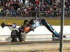 Phil Lamattina crash at Willowbank Raceway on Saturday. Photo: dragphotos.com.au