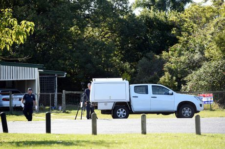 Investigations by detectives, uniformed and scenes of crime officers, and a dog squad unit continue with police declaring crime scenes in Dennis and Francis streets after a murder on Saturday night. Photo Vicki Wood / Caboolture News