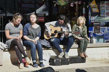 Busking at the Margaret St Markets are (from left) Lily Williams, Kaitlyn Kramer, Becca Liegey and Elise Telander.