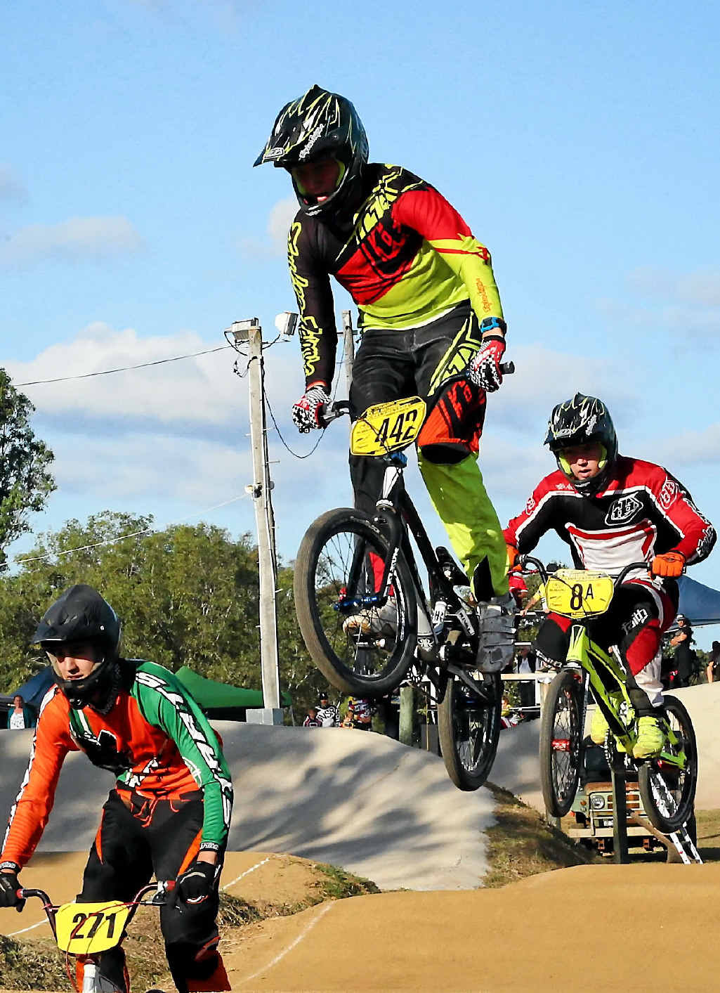 AIR: Ben Spratt gets serious hang time during his races on Saturday. The Maryborough Classic drew more than 400 riders for this year's event.