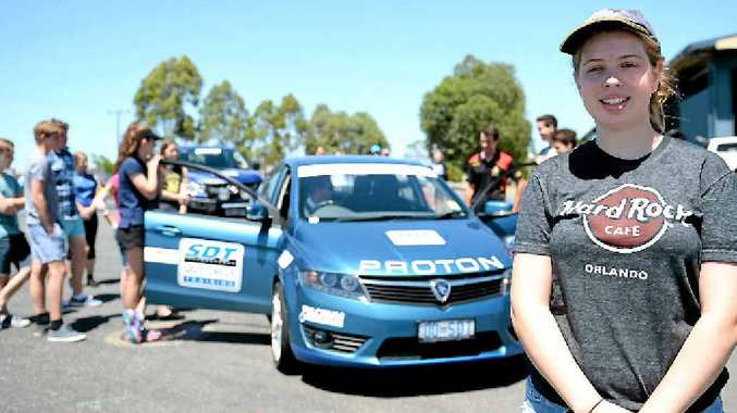GOOD CAUSE: Rockhampton's Bailee Murray taking part in a defencive driving course through the Jason Rich Foundation which is what the money from the car rally in July will go towards.