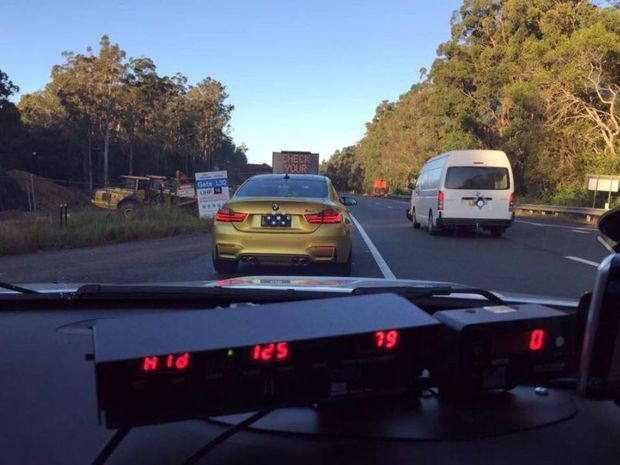 The Highway Patrol vehicle's on board camera shows the vehicle detected travelling at 125 km/h in the 80km/h zone on the Pacific Highway.