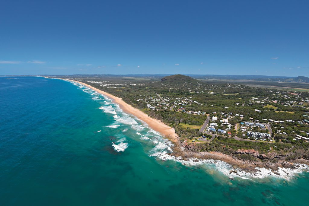 Aerials of the Sunshine Coast taken on Thursday 23 October, 2014 for advertising feature: Point Arkwright at Yaroomba. Mount Coolum and Palmer Coolum Resort in background. Also the site of the proposed Sekisui development. Photo: Brett Wortman / Sunshine Coast Daily