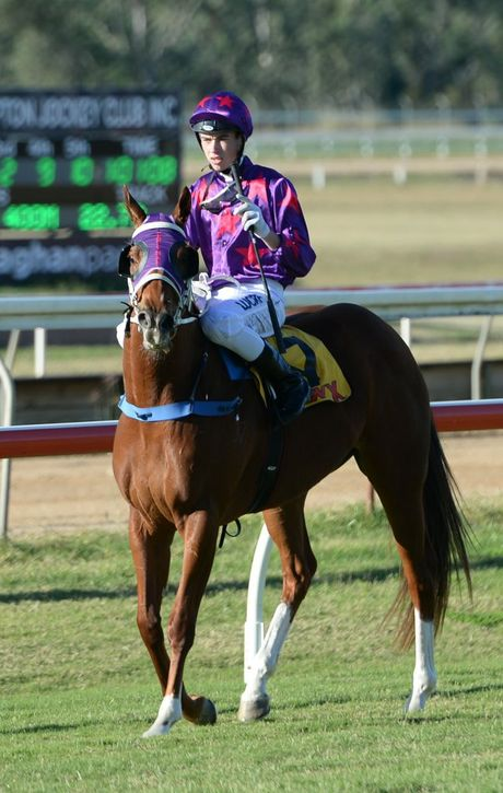 James Orman on Samara Girl after winning the CQ Crane Hire Handicap (Race 4) at Callaghan Park on Saturday 6 Jun 2015. Photo: Chris Ison / The Morning Bulletin