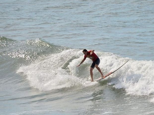 Josh Constable in action at the Winter Longboard Classic held at Alexandra Headland earlier this year.