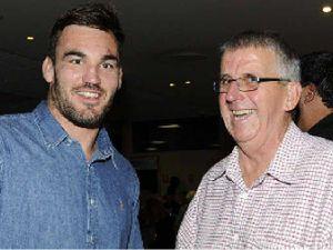 Gold Coast Titans prop Luke Douglas with Dick McLachlan on Saturday night.