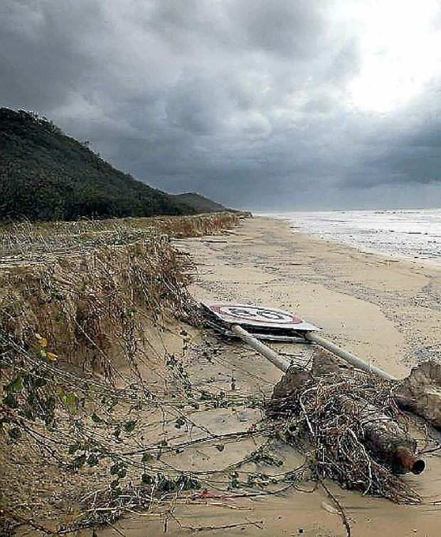 HERE TODAY, GONE TOMORROW: Eroded beach on the eastern side of Fraser Island.