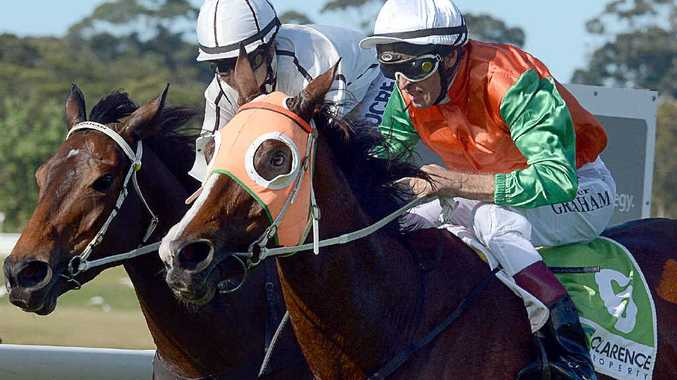THREE CHEERS: Strawberry Champane, ridden by Peter Graham and trained by Stephen Bennett, won the $15, 000 Benchmark 63 Handicap at the Ballina Jockey Club TAB meeting yesterday.