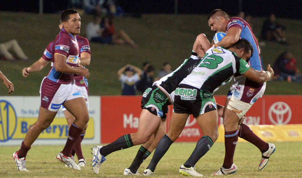 Cutters' Brad Lupi runs into the Townsville Blackhawks defence in Friday night's hard-fought 14-12 loss. Mackay missed out on a win after having a try disallowed late in the game.