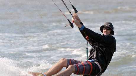 Liam Fulcher hones his kite-surfing skills.