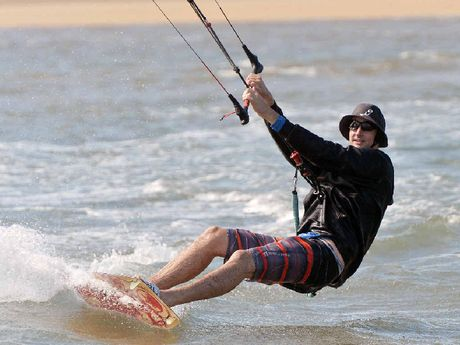 Liam Fulcher hones his kite-surfing skills.