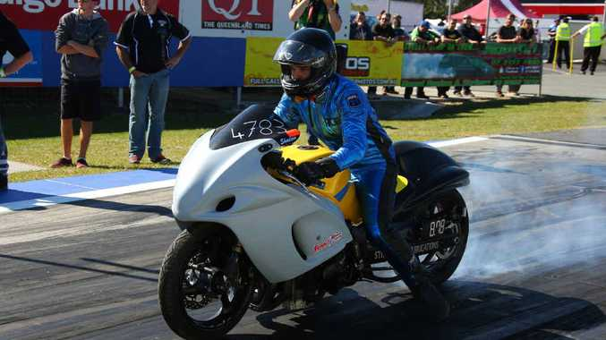 THE ACE: Ace Edwards on the start of the Winternationals at Willowbank Raceway. The young Parkhurst racer won the modified bike drag racing at the prestigious event.