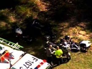 Four people injured in multiple-motorcycle crash