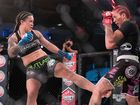 STYLE: Blencowe shows the intimidating style which gave her the win only four minutes and eight seconds into her first international bout, placing her well on the ladder to world martial arts stardom.