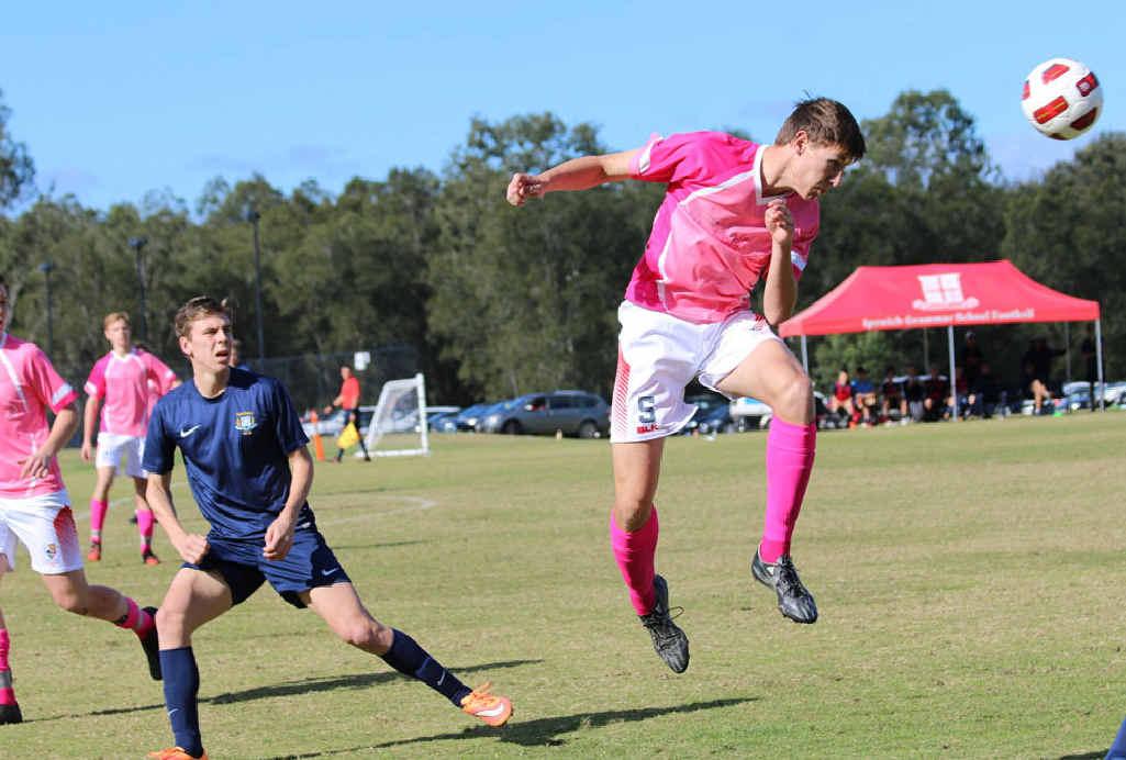 Ipswich Grammar School defender Nick Piper makes a spectacular header during his team's hard-fought 1-1 draw with Brisbane Grammar at Brassall.