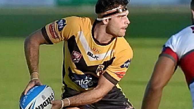 CREATIVE: Jay Lobwein passes for the Falcons against visiting Redcliffe.