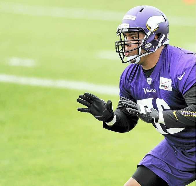 BIG SHOT: David Yankey trains with NFL franchise the Minnesota Vikings in Eden Prairie, Minnesota.