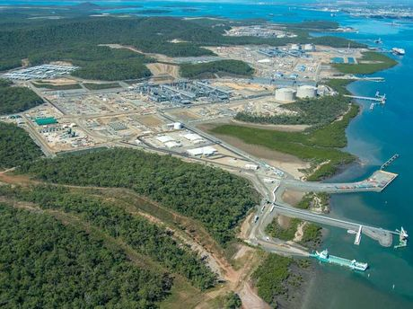 LNG plants on Curtis Island, Gladstone in May 2015.