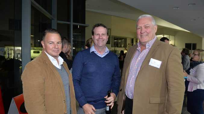 JOIN IN: Regional Development Australia Sunshine Coast chair Tony Riddle (right) is encouraging incorporated not-for-profit organisations with infrastructure project ideas to come along to the information sessions. Pictured here with Kris Carver and Zach Johnson at a Digital Sunshine Coast and Kawana Chamber of Commerce and Industry event last week.