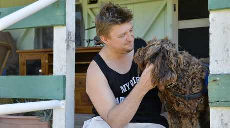 Ex-serviceman Ricky Lawson suffers anxiety and depression and has an assistance dog to help him handle social situations. He was thrown out of Riverlink because of his dog. Photo Inga Williams / The Queensland Times
