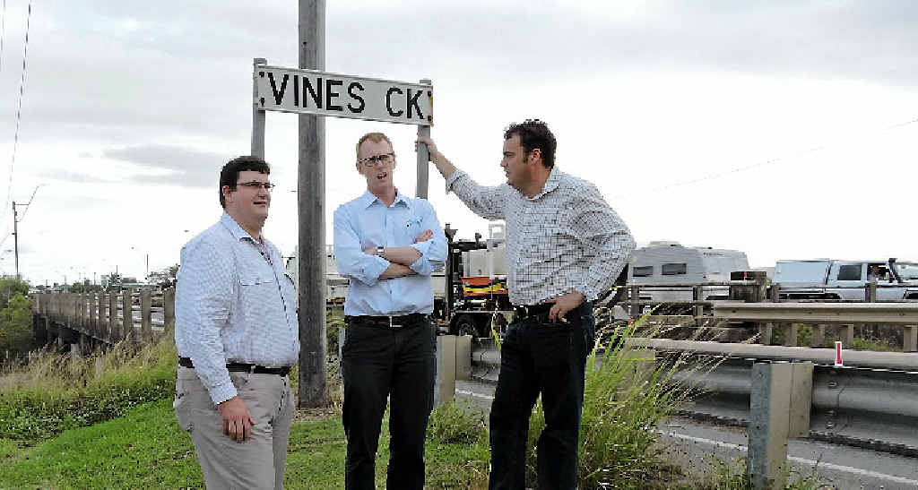 Member for Hinchinbrook Andrew Cripps, Resource Industry Network deputy chairman David Hartigan and Member for Whitsunday Jason Costigan want to see Vines Creek Bridge upgraded as soon as possible.