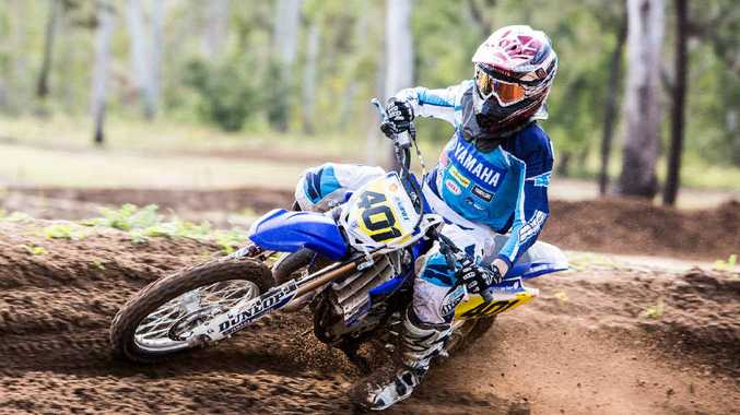 REAL DEAL: Levi Rogers in action at 6 Mile. The young Emerald rider, already a sponsored Yamaha junior, won all three of his races at the Rockhampton and District Motocross Club Round 4 racing last Sunday.