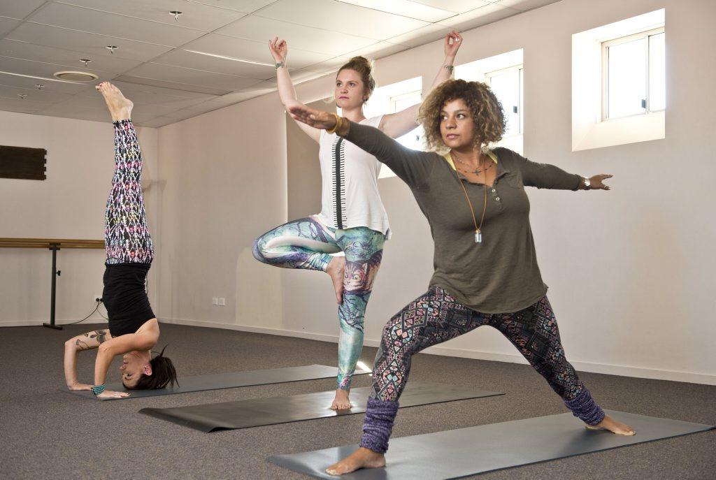 ( From left ) Ali Adams, Camilla Hall and Natalie Adams. Zama Yoga . Wednesday, May 06 , 2015 . Photo Nev Madsen / The Chronicle