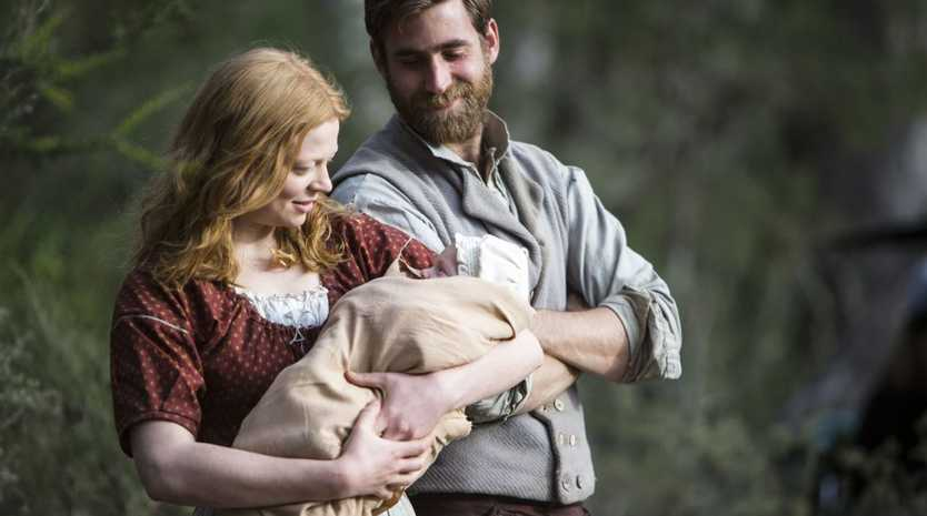 Sarah Snook and Oliver Jackson-Cohen in a scene from the TV mini-series The Secret River.