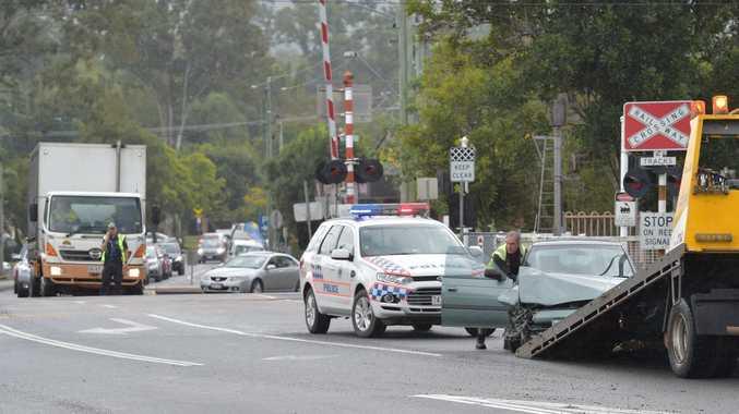 Head-on crash near the railway crossing on Maleny St, Landsborough. Photo: Brett Wortman / Sunshine Coast Daily