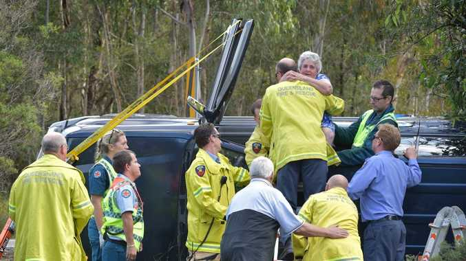 A 4WD rolled over on the Sunshine Motorway exit southbound at Mooloolaba. An elderly female passenger required firefighters to assist with her extrication. She was uninjured. Photo: Brett Wortman / Sunshine Coast Daily