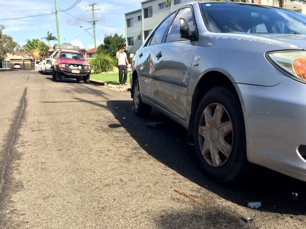 Multiple vehicles were damaged by a car which crashed into others in Smith St, Mooloolaba.