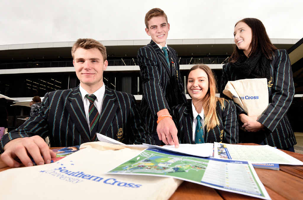 BRUSHING UP: Emmanuel Anglican College year 12 students James Rodgers, Connor Winchester, Jemima Masterson and Phoebe Scott learning how to tackle the HSC at Southern Cross University in Lismore.
