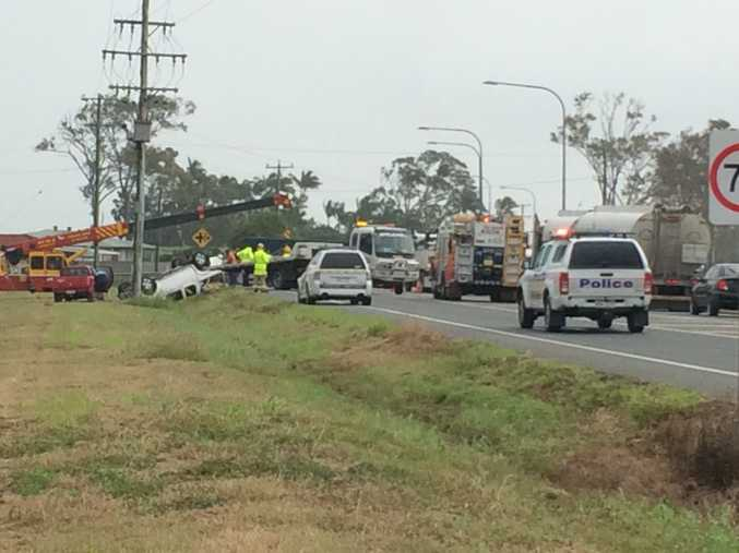 Emergency services on scene of Raceourse crash.