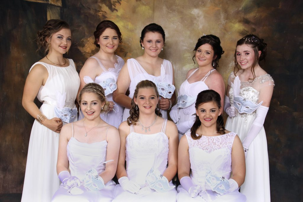 LYNROSE PHOTOGRAPHICS Pittsworth deb ball 15-05-2015 Back from left; Kelly Malcolm, Kate Hinton, Dalriada Green, Maddison Dodds, Jillian Fairweather. Front, from left; Emily Martin, Alisha Elsden, Chloe Single. Photo Contributed