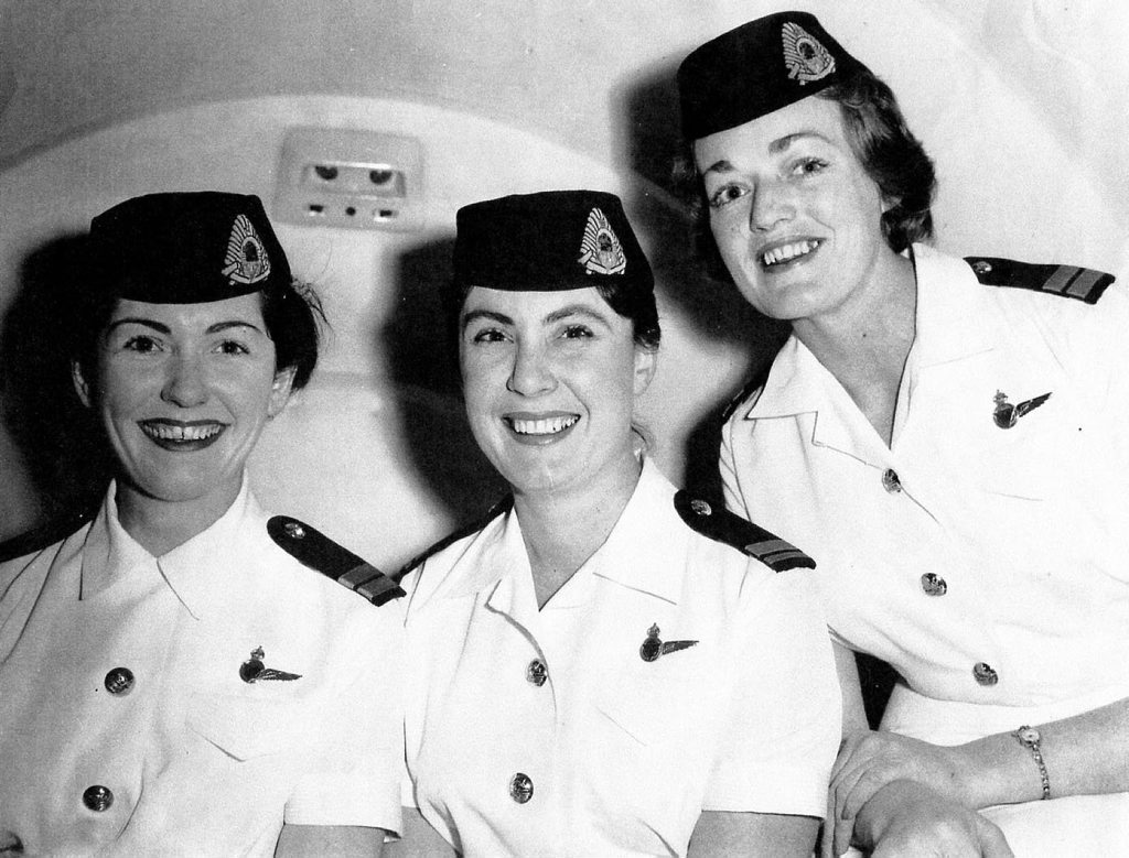 Trans Australia Airline hostess (from left) Pat Merlahan, Pat Hutchinson and Margaret Molan in the 1950s