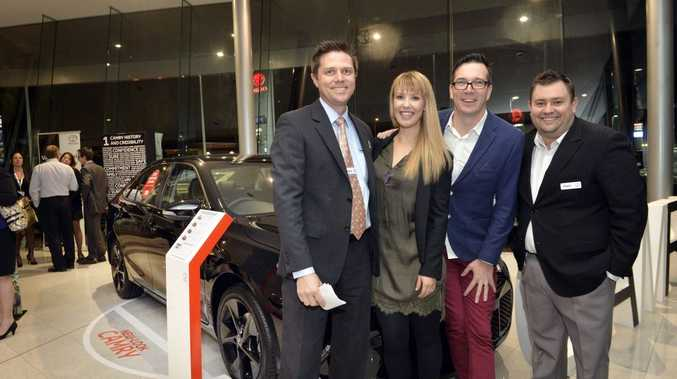 WHAT A LAUNCH: Llewellyn Toyota manager Dayne Matthews, Abby and Stav from hit105 and business development manager Matt Taylor-Farrington at the Ipswich Camry launch this week.