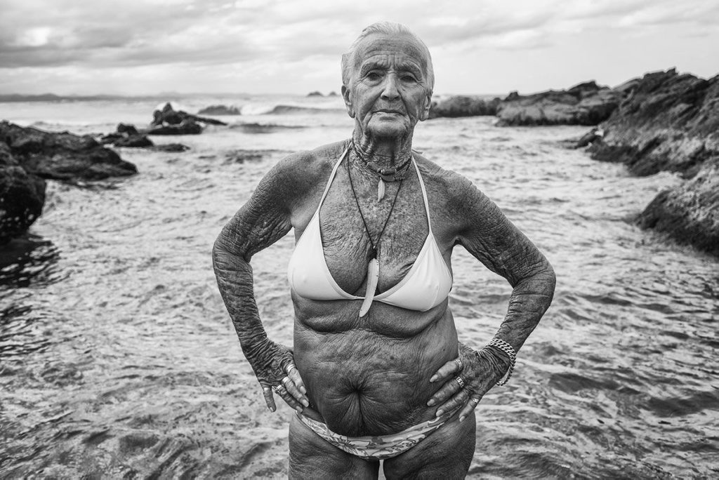 Feather and the Goddess Pool at Wategos Beach, 2014, by Natalie Grono, has won the People's Choice Award at the National Photographic Portrait Prize 2015.