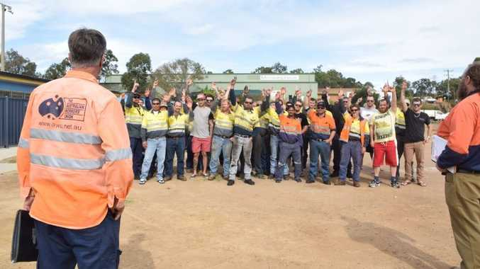 YES: AMWU workers unanimously voted yes to start the process of industrial action against contractor Monadelphous during a meeting in the car park of the soccer fields on Benaraby Rd this afternoon.