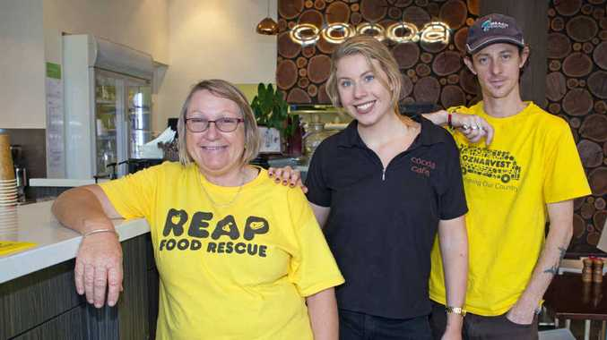 REAP TO THE RESCUE: Reap Coffs Harbour co-ordinator Julie Ferguson, with Cocoa barista and waitress Emma James and Reap volunteer Adam Walters. Gemima Harvey