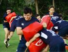 DEVELOPING SKILLS: West Moreton Anglican College 1st XV rugby team training.