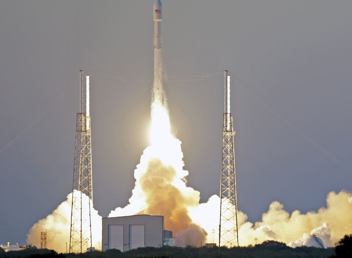 The Falcon 9 SpaceX rocket lifts off from Cape Canaveral, Florida