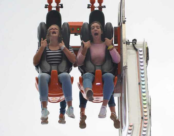Abbie Jewell and Morghan Wighton take a ride on Extreme Speed 2.