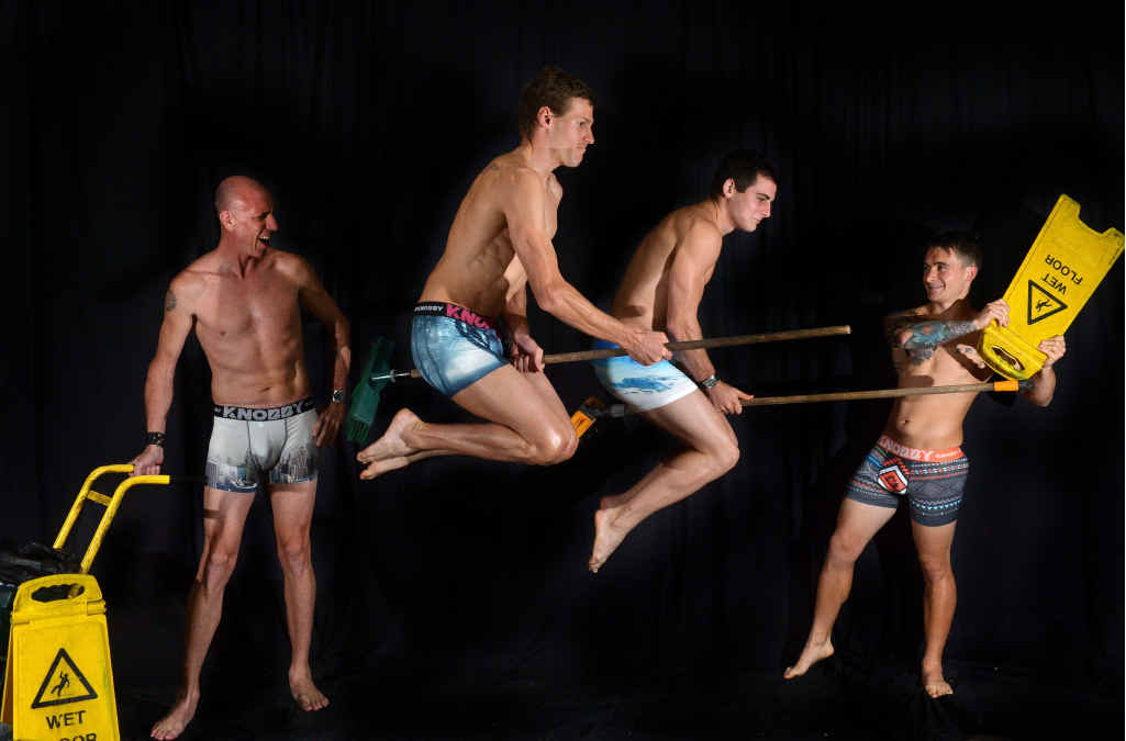 STRIKE A POSE: KNOBBY undies worn by Matt Hold, Damien Collins, Raymond Elliott-Howell and Jamie Smith.