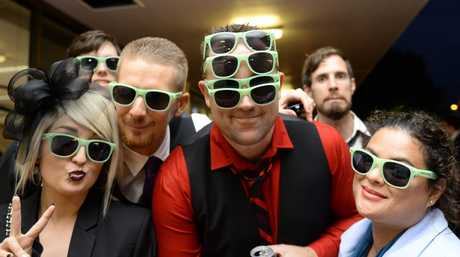 World record attempt of the most people wearing sunglasses at night at the Ipswich Cup 2015. Sian Lees, Scott Weathell, Jason Kitching, Stephanie Chown. Photo Inga Williams / The Queensland Times