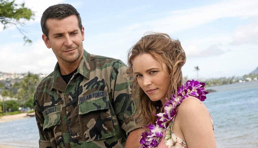 HAWAIIAN ROMANCE: Bradley Cooper, left, and Rachel McAdams in a scene from the movie Aloha.